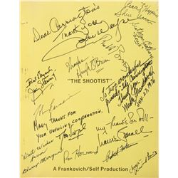 The Shootist shooting script signed by John Wayne and all major cast members.
