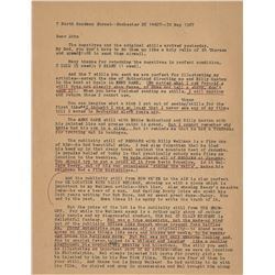 Louise Brooks TLS with her notations to Silent Movie Theater founder John Hampton.