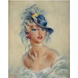 Raoul Walsh original oil painting of his wife Mary.