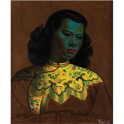 Raoul Walsh oil painting of Asian woman in blue.