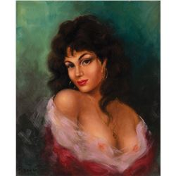 Raoul Walsh oil painting of a brunette woman.