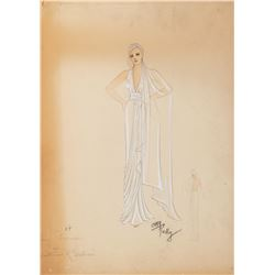 """Kay Francis """"Nicole Picot"""" costume sketch by Orry-Kelly for Stolen Holiday."""
