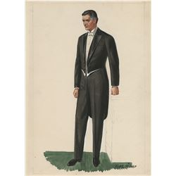 """Ronald Colman """"George Apley"""" costume sketch for The Late George Apley."""