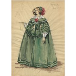 """""""Spanish Court Lady"""" costume sketch by Marjorie Best for The Adventures of Don Juan."""