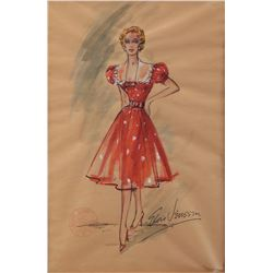 """Costume sketch attributed to Vivian Vance as """"Ethel Mertz"""" by Elois Jenssen from I Love Lucy."""
