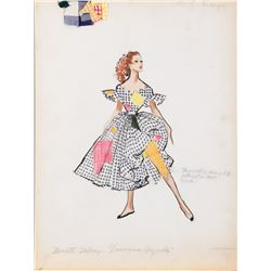 """Nanette Fabray """"Lily Marton"""" costume sketch by Mary Ann Nyberg for The Band Wagon."""