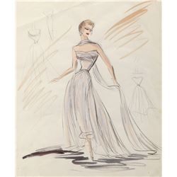 """Grace Kelly """"Frances Stevens"""" costume sketch by Edith Head for To Catch a Thief."""