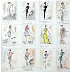 """Audrey Hepburn """"Holly Golightly"""" costume plot sketches by Edith Head for Breakfast at Tiffany's."""