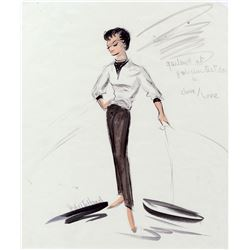 """Edith Head vintage costume sketch of Judy Garland as """"Jenny """" in I Could Go on Singing."""