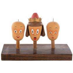 """George Pal """"Prince"""" Puppetoons heads and display."""