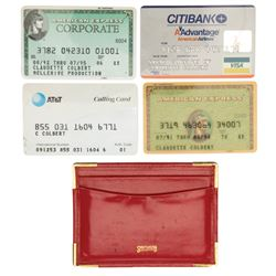 Claudette Colbert personal wallet and signed credit cards.