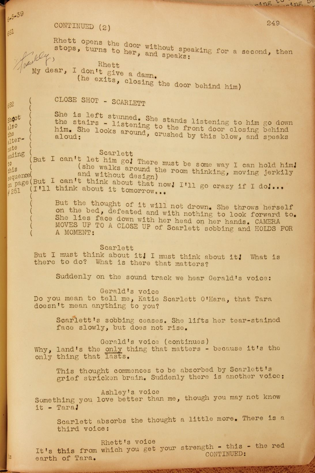 Gone With The Wind Set Shooting Script With Alternate Ending In