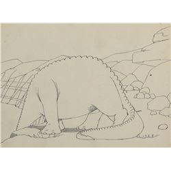 "Winsor McCay (2) production drawings of ""Gertie the Dinosaur""."