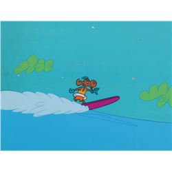 """Bullwinkle"" surfing cel with water effects on a Jay Ward production background."