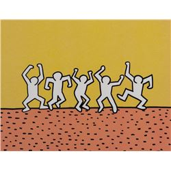 "Keith Haring Foundation production cel &drawing for the Sesame Street segment, ""5 Dancing Men""."