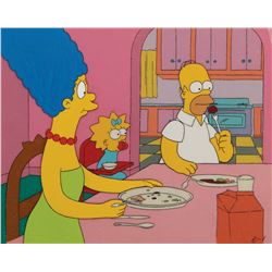 """Homer"", ""Marge"" and ""Maggie"" production cels on a matching production background from The Simpsons."