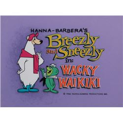 """Breezly"" and ""Sneezly"" main title production cels on a matching production b/g from Wacky Waikiki."