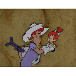 """Pebbles"" and Country Star production cel on a matching production background from The Flintstones."