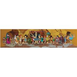 Entire cast pan model cel on a pan production background from The Flintstone Comedy Show.
