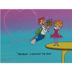 """George Jetson"" and ""Jane Jetson"" publicity cel on a production background from The Jetsons."