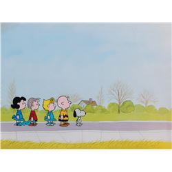 """Snoopy"", ""Charlie Brown"", ""Linus"", ""Lucy"" & ""Sally"" production cel & b/g from a Peanuts TV Special."