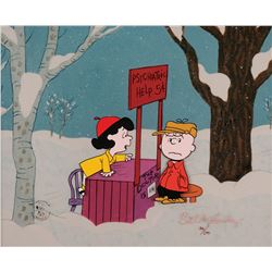 "Peanuts limited edition cel from A Charlie Brown Christmas entitled, ""Friendly Advice""."