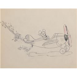 """Mickey Mouse"" flying an airplane production drawing from The Mail Pilot."