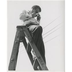 James Dean (2) candid photographs taking pictures on set by Floyd McCarty.