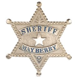 """Andy Griffith """"Andy Taylor"""" Mayberry Sheriff's badge from The Andy Griffith Show."""