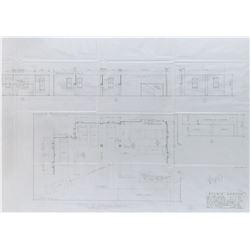 Get Smart (5) technical pencil drawings used in creating set blueprints.