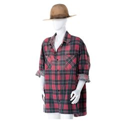 """Victor French """"Isaiah Edwards"""" signature hat, boots & plaid shirt from Little House on the Prairie."""