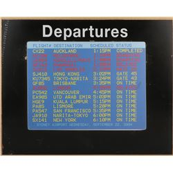 "Lost ""Oceanic flight 815"" screen-used Sydney Airport departure monitor translight."