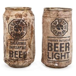 DHARMA Beer and DHARMA Beer Light distressed beer cans from Lost.