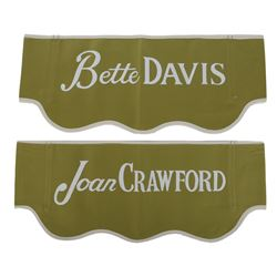 "Feud (TV series) ""Bette Davis"" and ""Joan Crawford"" director's chair backs."