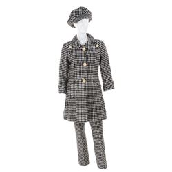 Geraldine Chaplin suit and cap by Ted Lapidus.
