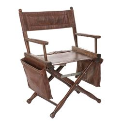 John Schlesinger custom set-used personal leather director's chair with script binder and ephemera.