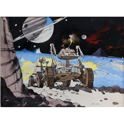 """Robert McCall early color concept art for the unrealized Douglas Trumbull film """"Pyramid""""."""