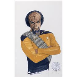 "Michael Dorn ""Worf"" costume sketch by Durinda Wood with new sash re-design for Star Trek: TNG."