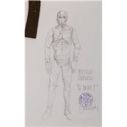 """Female Borg"" costume sketch by Durinda Wood for Star Trek: The Next Generation Episode, ""Q Who."""