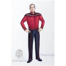 "Clyde Kusatsu ""Admiral Nakamura"" costume sketch by Durinda Wood for Star Trek: The Next Generation."