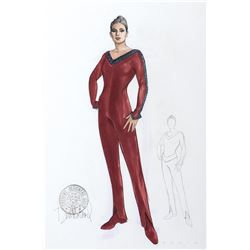 "Marina Sirtis ""Troi"" costume sketch by Durinda Wood for Star Trek: The Next Generation."