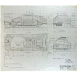 "Blade Runner pencil drafting sketch and brownline of the ""Deckard's Vehicle""."