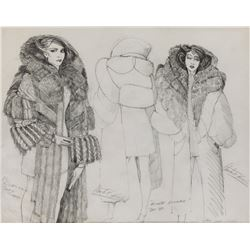 "Sean Young ""Rachael"" Fur Brocade costume sketch by Charles Knode for Blade Runner."