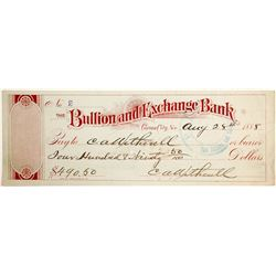 Bullion and Exchange Bank Check