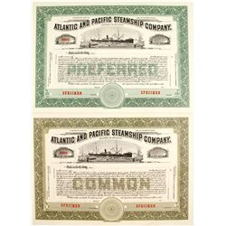Atlantic and Pacific Steamship Co Stocks, 2 specimens