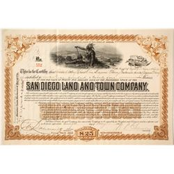 San Diego Land and Town Company Brown Stock