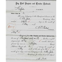 Virginia & Truckee Railroad Payroll from Huffaker's Camp to a Chinese Gang Boss