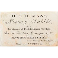 H. S. Homans; Commissioner of Deeds (Very Rare)