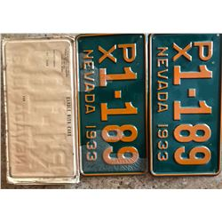 Matched Set of Near Perfect 1933 Nevada License Plates with Original Envelope