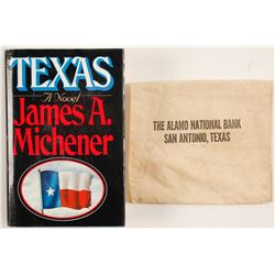Texas by James Michener and Bank Bag